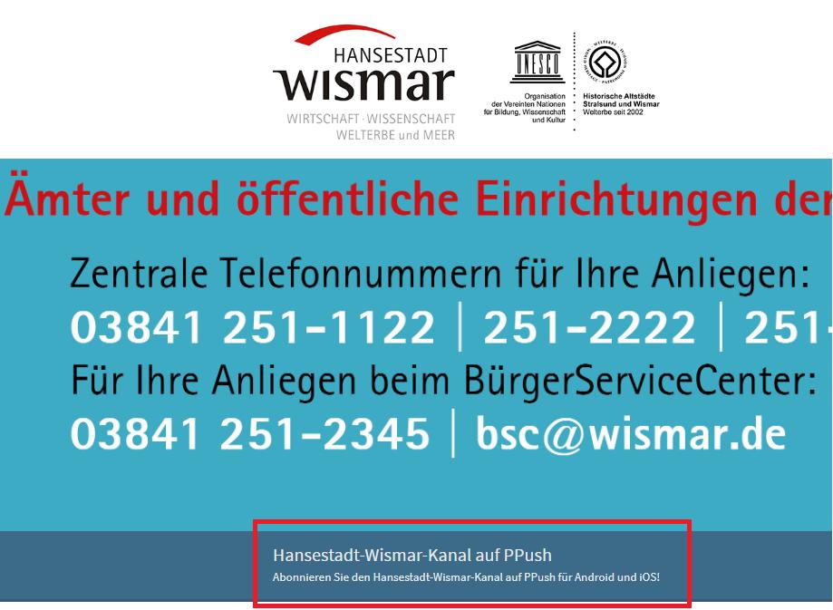 Städte und Gemeinden informieren über PPush in Zeiten von Corona (Wismar)